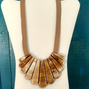 Fan shaped large beaded necklace on leather